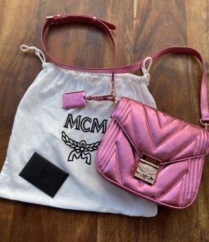 MCM Gekruiste tas roze Leer