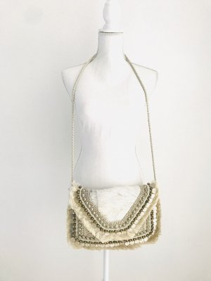 Antik Batik Gekruiste tas wit-zilver