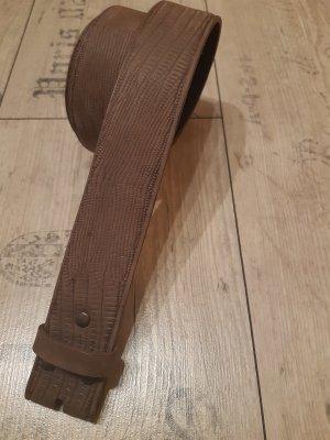 Umjubelt Ceinture en cuir gris brun-marron clair