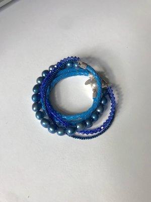 Collana di perle multicolore Pelle