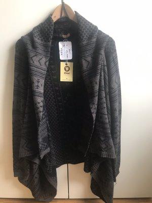 Aiki Veste en tricot brun noir