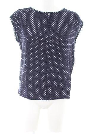 Un Deux Trois ärmellose Bluse blau-weiß Punktemuster Casual-Look