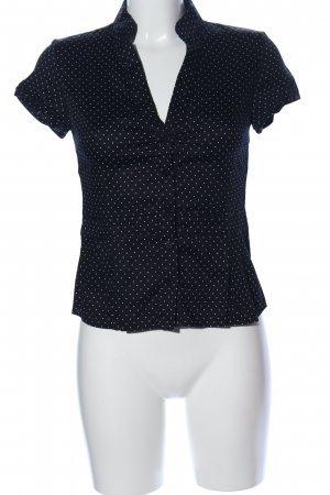 Un Deux Trois Kurzarm-Bluse schwarz-weiß Punktemuster Business-Look