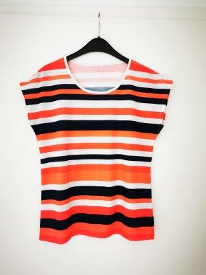 Un deux trois T-Shirt Top gestreift orange weiß