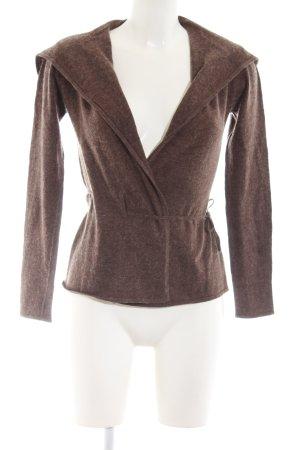 Un Deux Trois Wraparound Jacket brown flecked casual look