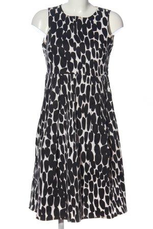 un1ueux2trios3 A-Linien Kleid weiß-schwarz Allover-Druck Elegant