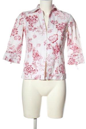 un1ueux2trios3 Langarmhemd weiß-pink Allover-Druck Business-Look