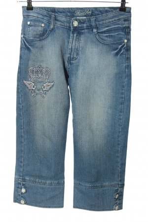 Miss O&Y 3/4 Length Jeans blue embroidered lettering casual look