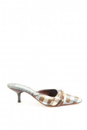 Heel Pantolettes white-brown allover print casual look