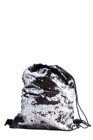 Beuteltasche silberfarben-schwarz Casual-Look