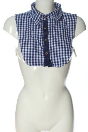 Inserción de blusa azul-blanco estampado a cuadros look casual