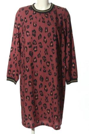 Abito blusa rosa-nero motivo animale stile casual