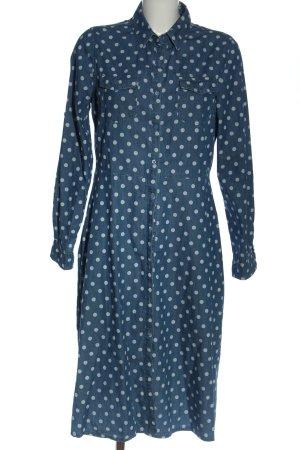 ewinker Blusenkleid blau-weiß Allover-Druck Casual-Look