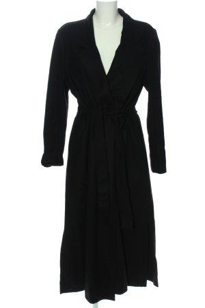 Cappotto lungo fino a terra nero stile professionale