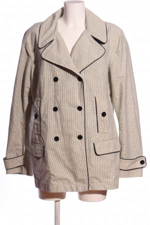 Heavy Pea Coat natural white-black striped pattern business style