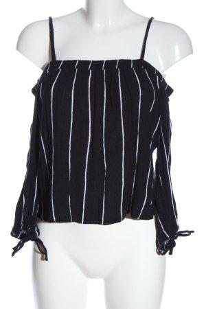 Camisa tipo Carmen negro-blanco estampado a rayas elegante