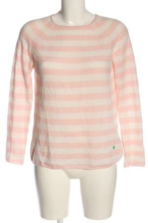 Pull en cashemire rose-blanc motif rayé style décontracté