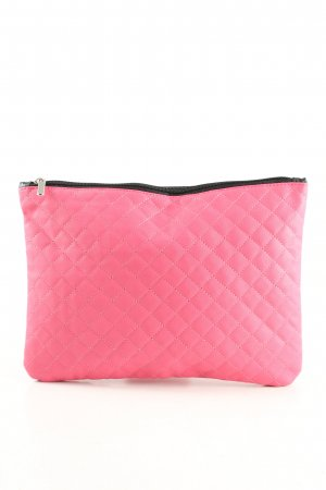 Clutch pink-schwarz Steppmuster Casual-Look
