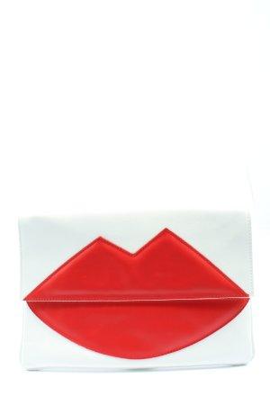 Borsa clutch bianco-rosso stile casual