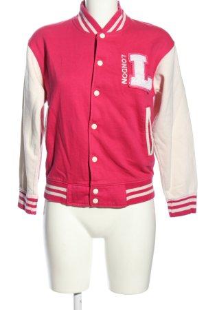 Awnhill Chaqueta estilo universitario rosa-blanco letras impresas look casual