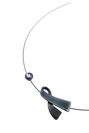 Naszyjnik czarny-srebrny W stylu casual