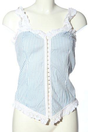 Haut type corsage blanc-bleu motif rayé élégant