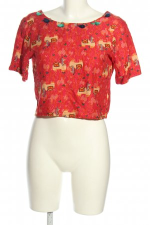global desi Cropped Shirt Allover-Druck Casual-Look