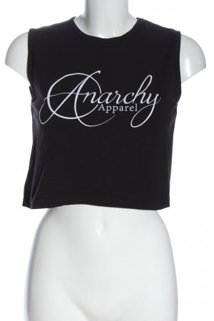 anarchy apparel Cropped Top black-white themed print casual look