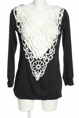 Uno qi Clothing Top cut-out nero-bianco motivo floreale stile casual