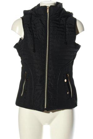 Gilet en duvet noir motif de courtepointe style décontracté
