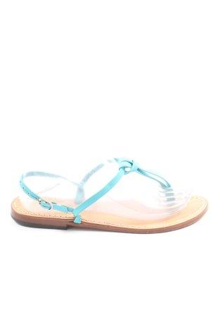 Sandalo toe-post turchese-bianco sporco stile casual