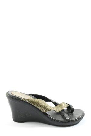 Sandały klinowe na obcasie khaki-czarny Zwierzęcy wzór W stylu casual