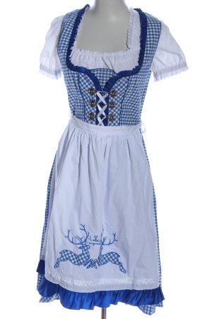 Dirndl bleu-blanc motif à carreaux style classique