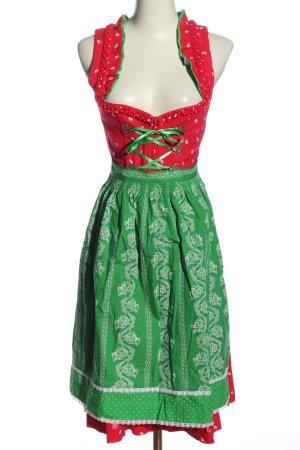 Dirndl czerwony-zielony Graficzny wzór Elegancki