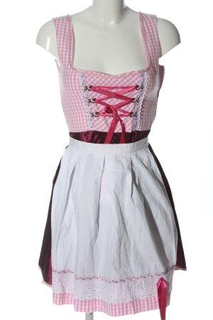 Vestido Dirndl rosa-blanco estampado a cuadros elegante