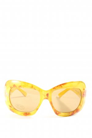 Gafas de sol cuadradas amarillo pálido-marrón estampado floral look casual