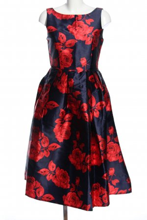 Abito stile impero nero-rosso motivo floreale elegante