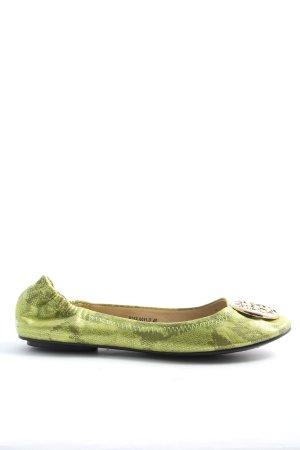 Składane baleriny zielony Na całej powierzchni W stylu casual