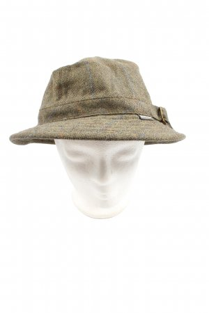 Felt Hat khaki check pattern casual look