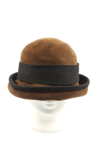 Sombrero de fieltro marrón-negro look casual