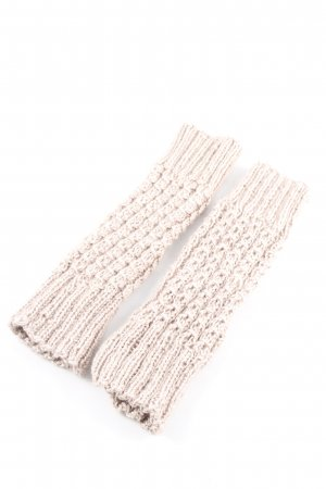 Fingerless Gloves natural white cable stitch casual look