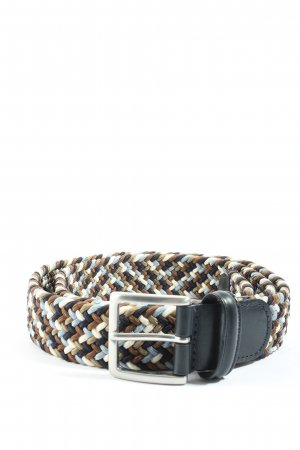 Cinturón trenzado negro-blanco puro estampado a rayas look casual