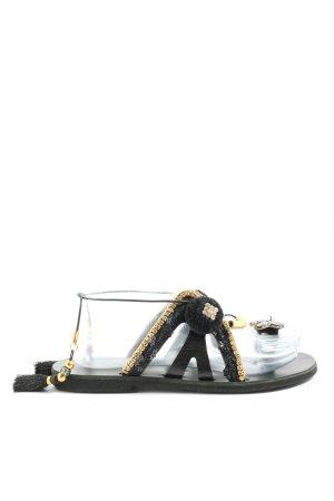 gogo sandals Chanclas negro-color oro look casual