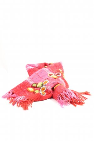 SHINGORA Fransenschal rot-pink Karomuster Casual-Look