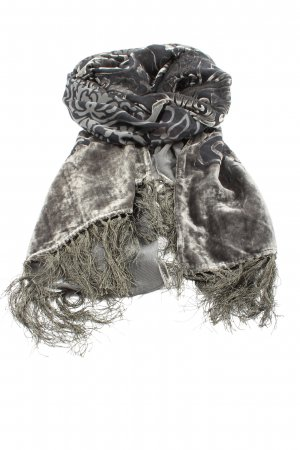 past times Fringed Scarf light grey-black themed print casual look