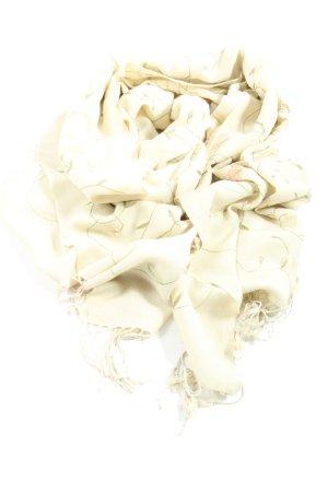 Mahalaxmi Pashmina Écharpe à franges blanc cassé-vert imprimé allover