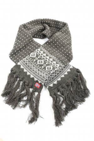 Fringed Scarf light grey-white allover print casual look