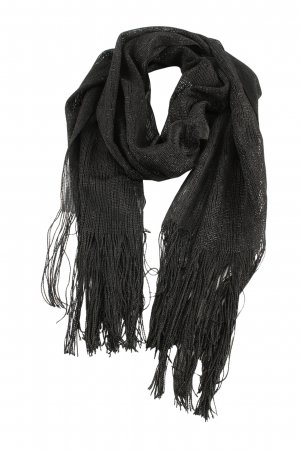 Fringed Scarf black casual look