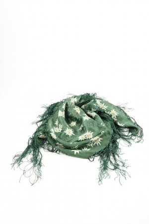 Strießnig Fringed Scarf green-white flower pattern casual look