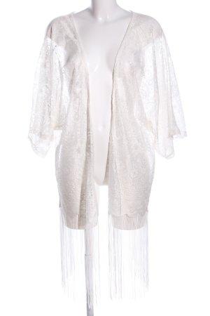 Veste à franges blanc imprimé allover style décontracté